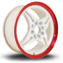 "Rota Auto X 15x6.5"" 4x100, 4x114.3 ET40, Blanc, Rebord Chromé Rouge"