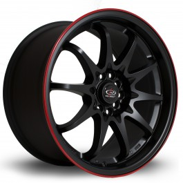 "Rota Fighter 17x9"" 5x100/114.3 ET35, Noir Mat / Satiné, Liseret Rouge"