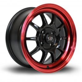 """Rota GT3 15x7"""" 4x100 ET40, Noir, Rebord Rouge"""