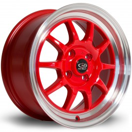 "Rota GT3 15x7"" 4x100 ET40, Rouge, Rebord Chromé"