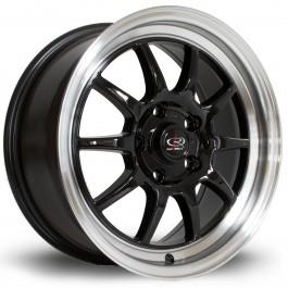 "Rota GT3 16x7"" 4x100 ET40, Noir, Rebord Chromé"