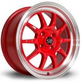 "Rota GT3 16x7"" 4x100 ET40, Rouge, Rebord Chromé"