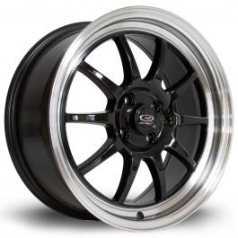 "Rota GT3 17x7.5"" 4x100 ET45, Noir / Brillant, Rebord Chromé"