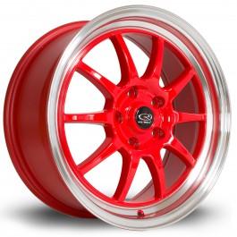 "Rota GT3 17x7.5"" 5x114.3 ET45, Rouge, Rebord Chromé"