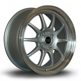 """Rota GT3 17x7.5"""" 4x100 ET45, Gris Argenté, Rebord Chromé"""