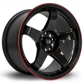 """Rota GTR 17x9.5"""" 5x114.3 ET30, Noir Brillant, Liseret Rouge"""