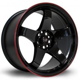 """Rota GTR 18x9.5"""" 5x114.3 ET30, Noir / Brillant, Liseret Rouge"""