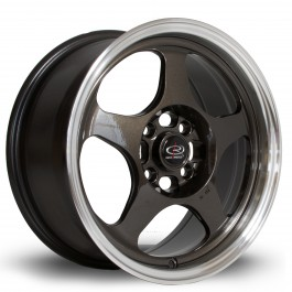 "Rota Slipstream 15x7"" 4x100 ET40, Gunmetal, Rebord Chromé"