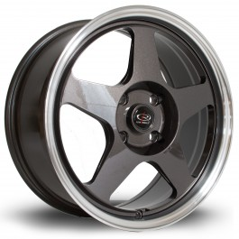 "Rota Slipstream 17x7.5"" 4x100 ET45, Gunmetal, Rebord Chromé"