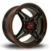 """Rota Auto X 15x6.5"""" 4x100 ET40, Noir / Brillant, Liseret Rouge"""