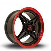 "Rota Auto X 16x7"" 4x100,4x114.3 ET40, Noir / Brillant, Rebord Rouge"