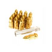 """Ecrous """"Bullet"""" Dorés en Acier Forgé M12x1.5 (Pack de 20)"""