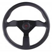 Volant Personal Neo Grinta (330 mm), Cuir Noir, Branches Noires, Coutures Rouges